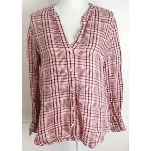 Joie • Pink Plaid Button Down Blouse